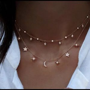 Double Layer Elegant Moon & Star Crystal Necklace
